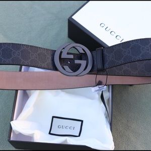 Gucci black leather canvas monogram gg buckle belt